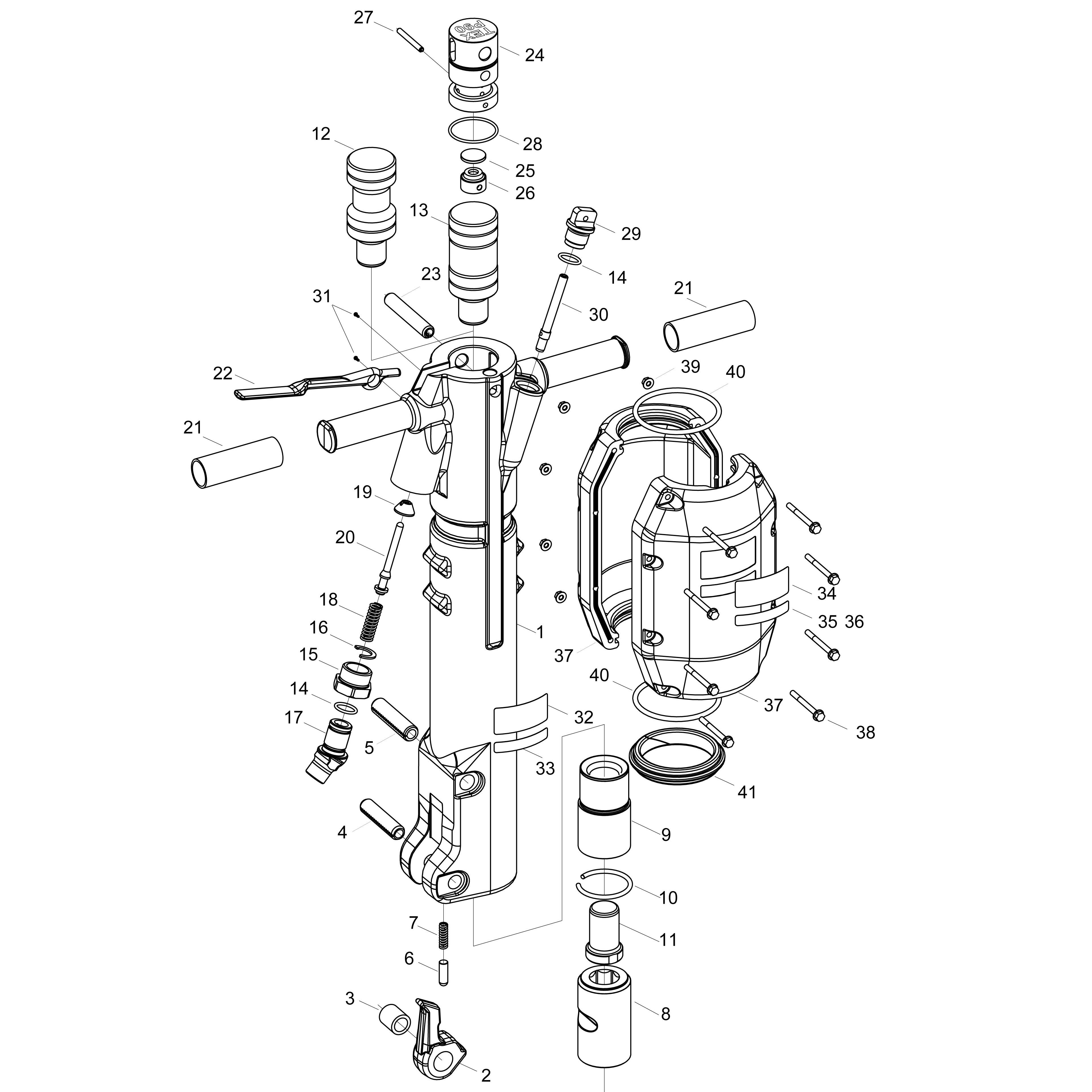 "Atlas copco 8461022721, tex p60, 1-1/4""x 6"" pneumatic jack hammer."